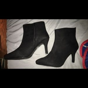 Black Heeled Zipper Boots (NEW)